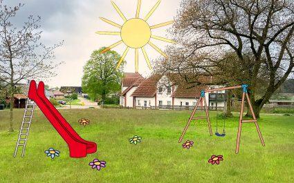Dorfplatz von Pennewitt mit Spielplatz